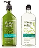 Bath & Body Works, Aromatherapy Stress Relief Body Lotion and Body Wash & Foam Bath, Eucalyptus Spearmint (Bundle of 2)
