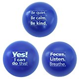 Motivational Stress Balls, 3 Pack, Teacher Peach Stress Relief Toys - Blue (10 Colors Available)